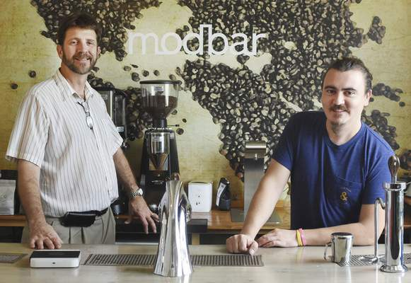 Photos by Samuel Hoffman   The Journal Gazette General manager Brad Staats, left, and co-founder Aric Forbing run Modbar, which designs and manufactures custom coffee-making equipment.