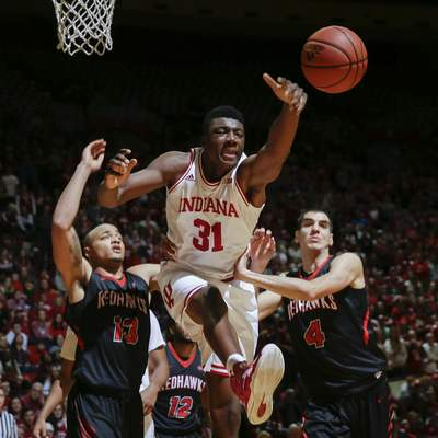Associated Press Indiana center Thomas Bryant comes up short going for a rebound between Southeast Missouri State's Trey Kellum, left, and Milos Vranes.