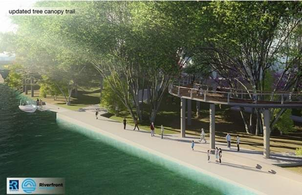 Artist rendering of a portion of the riverfront development project.