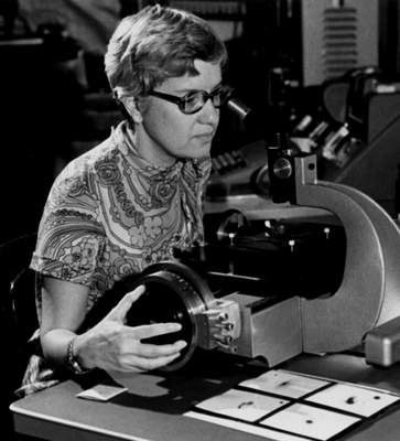 Associated Press In this image taken in the 1970s and provided by the Carnegie Institution of Washington, Vera Rubin uses a measuring engine. Rubin, a pioneering astronomer who helped find powerful evidence of dark matter died Sunday. She was 88.