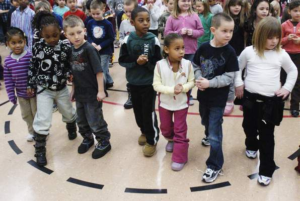 FILE Holland Elementary School students participating in activities prior to taking state exams.