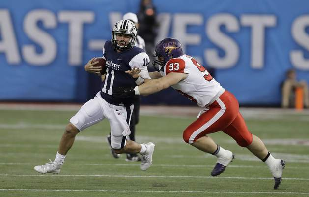 Associated Press Western Michigan quarterback and former Homestead star Zach Terrell played sparingly for the West in the East-West Shrine game. But his success in college makes it a possibility that he could be drafted by an NFL team.