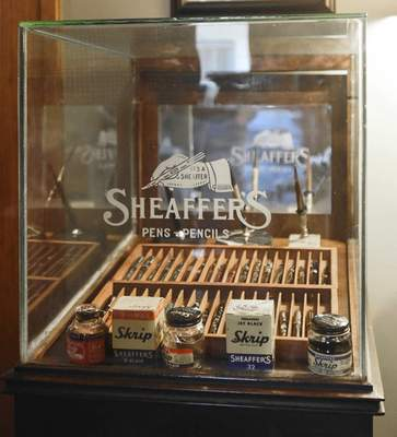 Photos by Michelle Davies | The Journal Gazette Reche keeps some of his fountain pens, ink bottles and dip pens in an original Sheaffer pen case.