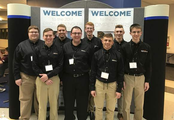 Courtesy The Indiana Tech Cyber Warriors pose for a photo at this month's Erich J. Spenger Midwest Regional Collegiate Cyber Defense Competition. From left, team members are Ian Springer, Ethan Anderson, Matthew Billeck, Chandler Dodenhoff, Anthony Burkhart, Austin Blanton, Carson White and Matthew Kowal.
