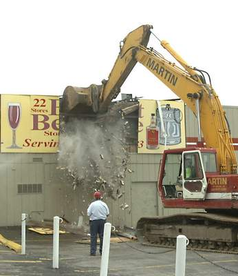File On July 26, 2007, a Belmont Beverage store was the first demolition project to make way for the Harrison Square development.