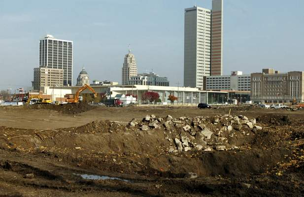 File Construction work continues at the future site of Harrison Square in November 2007.