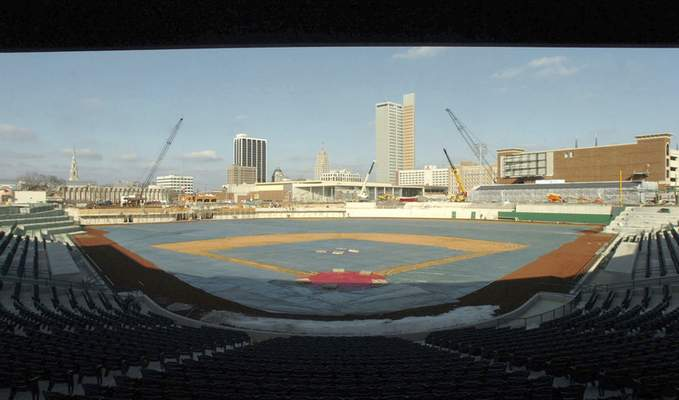 File In February 2009, a tarp covers the grass and most of the seats have been installed at Parkview Field.