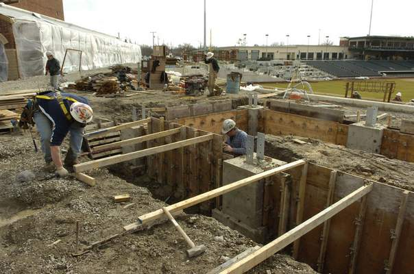 File On March 9, 2009, crews begin work on the outfield bar at Parkview Field after approval was given for its liquor license.