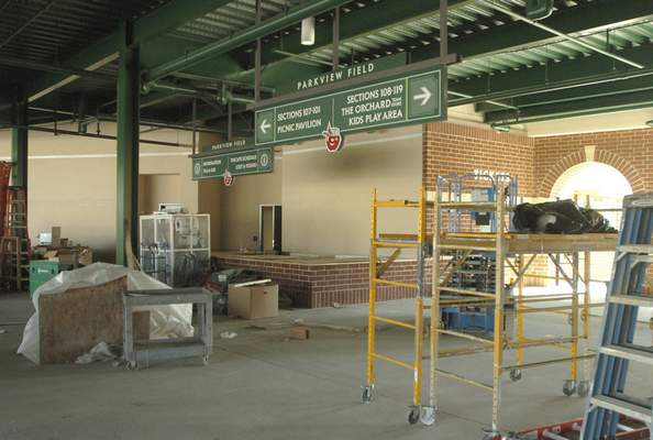 File Work continues on the Parkview Field concourse as opening day nears, March 16, 2009.