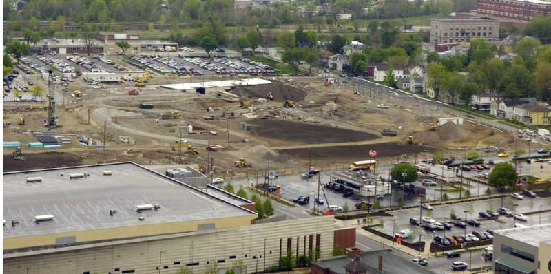 File Work is done to clear space for the Harrison Square downtown development in May 2008.