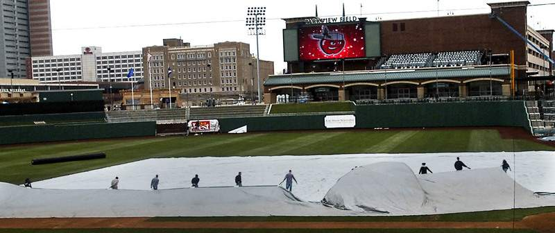 File Crews put the finishing touches on Parkview Field on April 15, 2009, a day before the first TinCaps game.