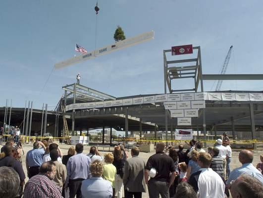 File Politicians, members of the public, construction workers, Fort Wayne Wizards' staff and ballplayers and others witness the topping off of Harrison Square stadium, July 1, 2008. All were invited to sign the steel beam which was lifted to the highest point in the stadium.