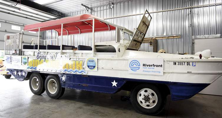 The DUKW boat, owned and operated by Friends of the River, is in storage and being repaired in a barn in west Allen County but should be on the rivers in early June.