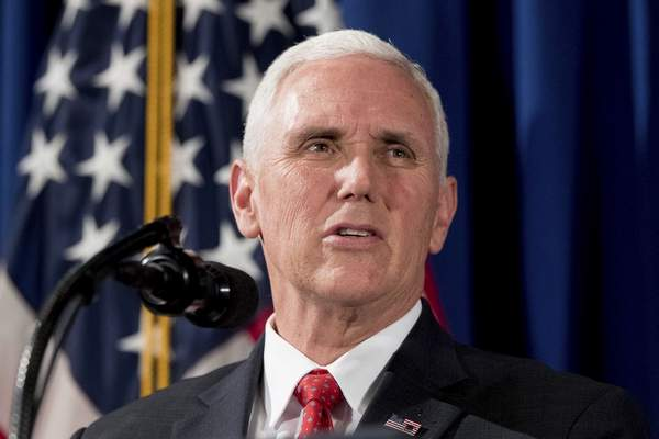 n this April 17, 2017, file photo, Vice President Mike Pence speaks at the Department of Veterans Affairs in Washington. (AP Photo/Andrew Harnik, File)