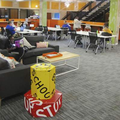 Dan Rooney | The Journal Gazette Co-working space inside American Underground allows entrepreneurs access to Wi-Fi, meeting rooms, coaching and other amenities.