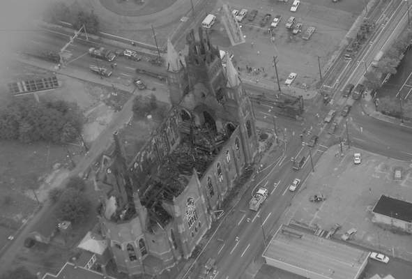 File Sept. 3, 1993: An aerial shot from the day after the fire shows the destruction inside St. Mary's Catholic Church downtown.