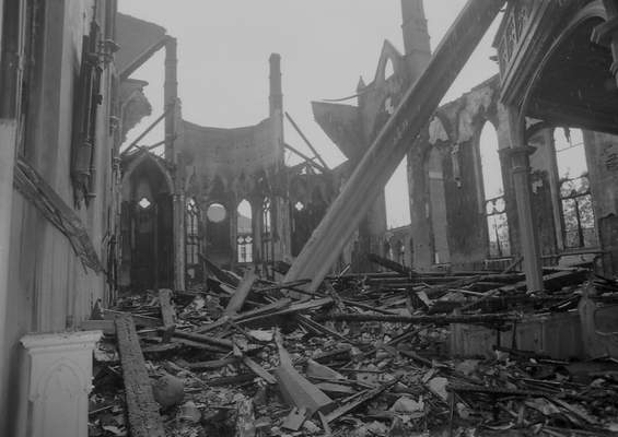 File Sept. 3, 1993: The interior of St. Mary's Catholic Church is seen the day after the fire.