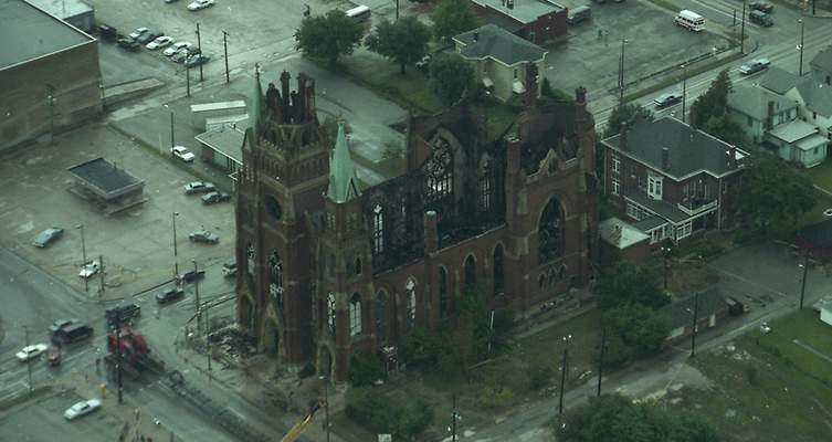 File Sept. 3, 1993: An aerial shot of the destruction the day after the fire.