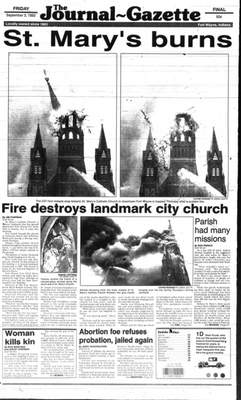 File The Sept. 3, 1993, cover of The Journal Gazette details the fire from the previous afternoon.