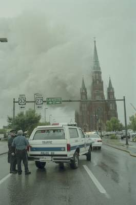 File Sept. 2, 1993: Streets were blocked off aroundSt. Mary's Catholic Church downtown. The streets were wet from a downpour of rain.