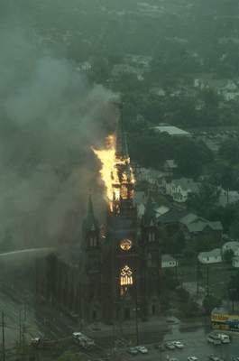 File Sept. 2, 1993: St. Mary's Catholic Church burns in downtown Fort Wayne.