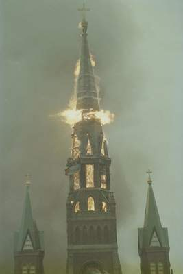 File Sept. 2, 1993: The steeple fell just after 4 p.m. at St. Mary's Catholic Church downtown.