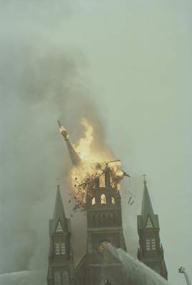 File Sept. 2, 1993: The steeple falls just after 4 p.m.at St. Mary's Catholic Church downtown.