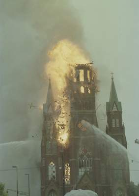 File Constructed in 1887, St. Mary's Catholic Church was destroyed Sept.2, 1993, after its steeple was struck by lightning. Once the fire was put out, all that stood were four walls and two smaller steeples.