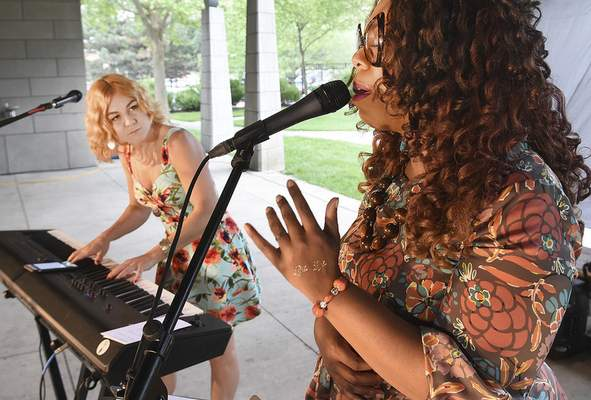 Alicia Pyle, left, and Trinell Armour open RiverDrums 2017 on Sunday with jazz standards.