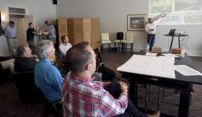 Jeff Kingsbury speaks during a meeting of local food entrepreneurs and culinary enthusiasts Tuesday at Electric Works, the former GE campus. (Rachel Von | The Journal Gazette)