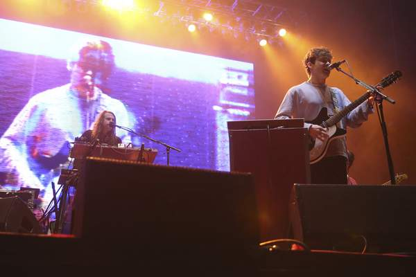 Benjamin Goldwasser, left, and Andrew VanWyngarden of MGMT will headline this year's Middle Waves Music Festival. (Associated Press)