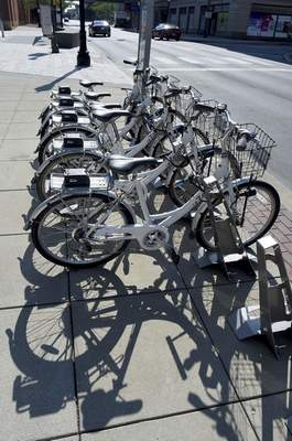 The Zagster bike sharing station in front of Grand Wayne Center is one of six in town. (Samuel Hoffman   The Journal Gazette)