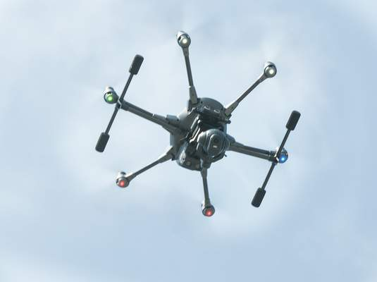 Cathie Rowand | The Journal Gazette Fort Wayne Police demonstrate a new Air Support Unit. FWPD purchased two Typhoon H-Pro with Real Sense Drones that will be put in service to assist the officers. Four officers will go through training to certify them through the FAA as Remote Pilot-In-Command officers.