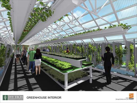 Courtesy Set for completion this fall, the greenhouse on Ivy Tech's Fort Wayne campus will let agriculture majors conduct experiments and grow produce for hospitality administration majors to incorporate into their cooking assignments.