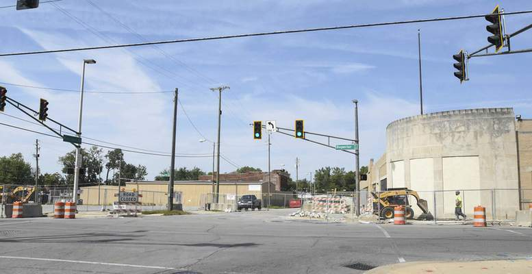 Michelle Davies | The Journal Gazette At the corner of Harrison and Superior streets, Community Foundation grant-financed demolition is taking place to help create the gateway between the Landing and Promenade Park.