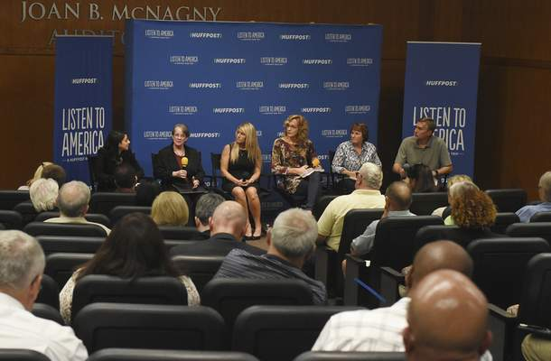 A panel of speakers talk with moderator Rebecca Klein of HuffPost, far left, Wednesday during  a voucher forum as part of the HuffPost's 25-city Listen to America bus tour.