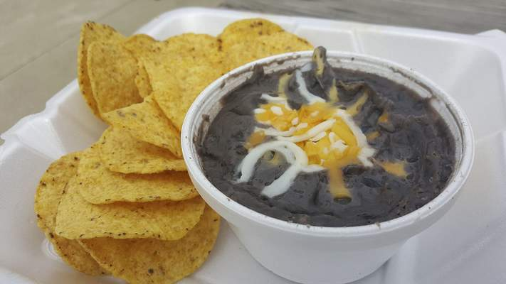 Black bean dip at Puckerbrush Pizza in Payne, Ohio.