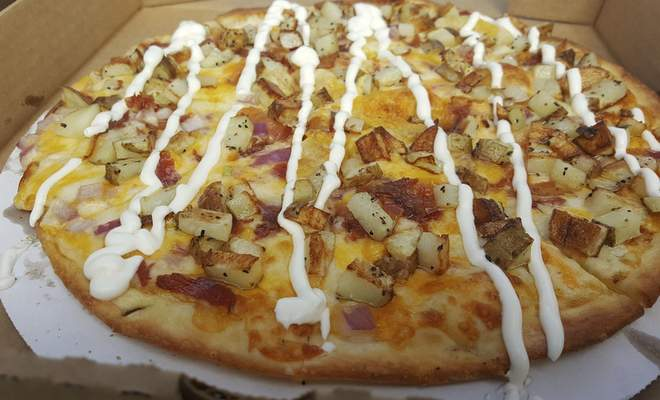 The Loaded Potato pizza at Puckerbrush Pizza in Payne, Ohio.