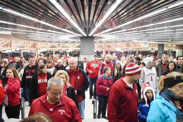 FILE: Indiana and IPFW fans fill the rotunda at Memorial Coliseum waiting for entrance to a basketball game between IPFW and Indiana University.
