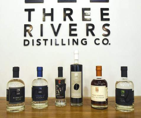 Photos by Michelle Davies | The Journal Gazette Three Rivers Distilling products are available in 200 locations across the state and 50 in Kentucky.