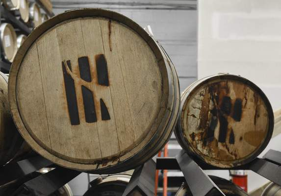 A local cooper makes Three Rivers Distilling's 5-gallon barrels out of white oak to give their bourbon its flavor.