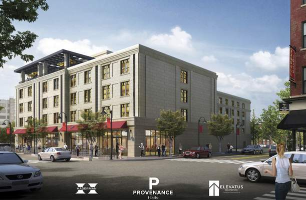 Courtesy The 125-room boutique hotel with a $27.7 million price tag will beat the northwest corner of Main and Harrison streets.