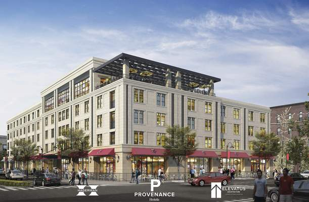 Courtesy Plans for the new downtown hotel call for five floors, restaurants, ground-level retail spaces and a rooftop entertainment space.