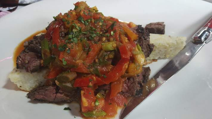Skirt Steak with summer vegetables from Old Crown Coffee Roasters on Anthony Boulevard.