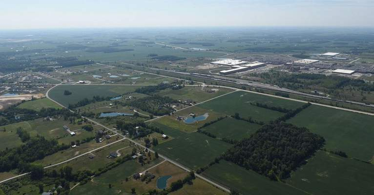 FILE: Winters Road (running next to the railroad tracks) is  the dividing line between industrial and residential/agricultural use of land north of the General Motors plant (upper center).