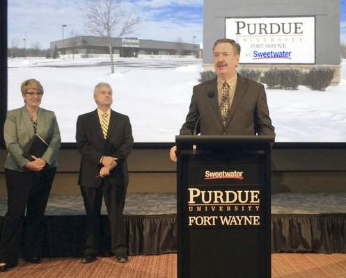 Sweetwater founder Chuck Surack announces Wednesday that the future home of Purdue Fort Wayne's music technology program will be on Sweetwater Sound's campus on U.S. 30. (Ron Shawgo | The Journal Gazette)