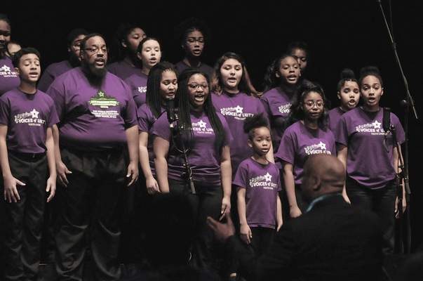The Voices of Unity choir sings during Fort Wayne's Martin Luther King Jr. Club's 33rd annual Unity Day Celebration at Grand Wayne Center. (Photos by Michelle Davies | The Journal Gazette)