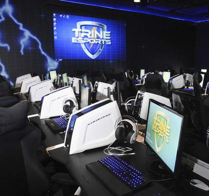 Cathie Rowand | The Journal Gazette Trine University's ethletes compete in varsity eSports at the MTI Center on the Angola campus.