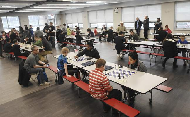 Memorial Park's cafeteria was filled with chess players and spectators Saturday.