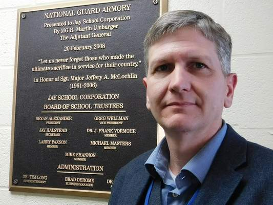 Brian Francisco | The Journal Gazette Jay County School Corp. Superintendent Jeremy Gulley's office is in a former National Guard armory – in the same space he once used as a company commander.